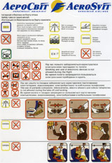 Aerosvit Boeing 767-300ER safety card