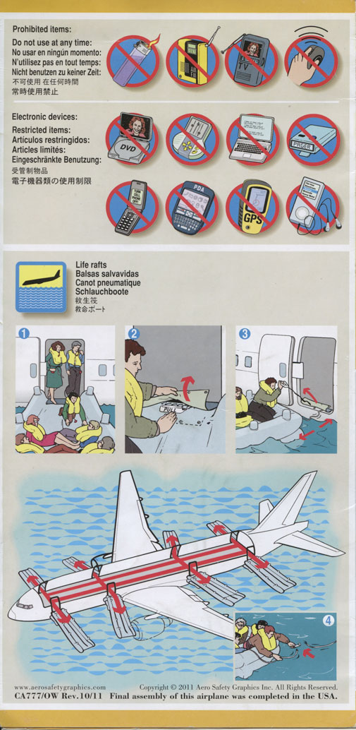 United Boeing 777-200 Safety Card