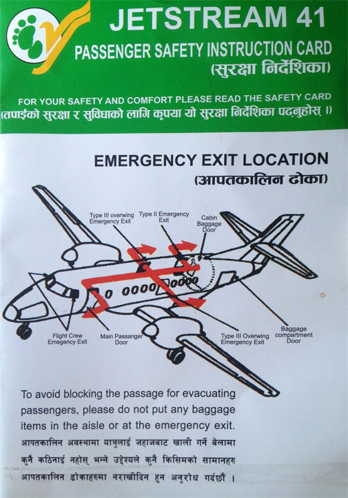 Yeti Airlines Jetstream 41 Safety card